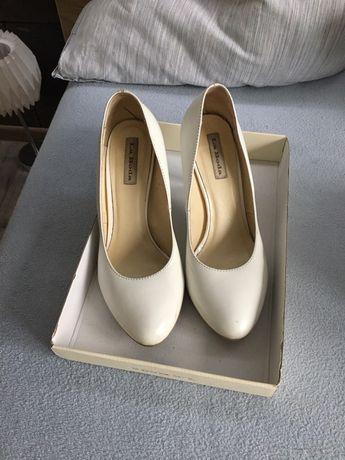 Buty ślubne białe 38 skóra naturalna la boda