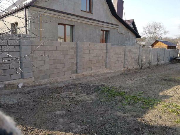 Мурую забор з блоків , септик з переливом, утеплення фасаду, криши