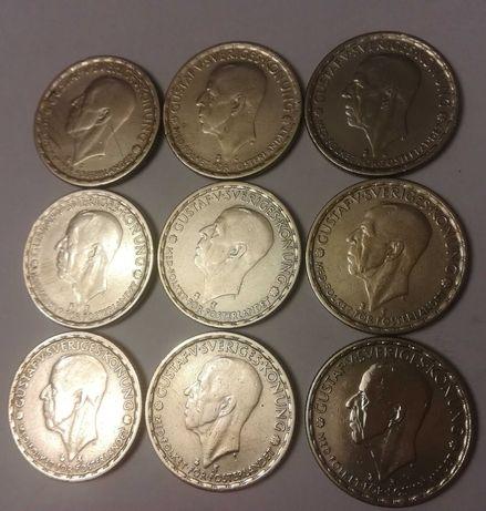 Monety srebrne zestaw 9 szt. 1 korona Szwecja 1942 - 50 srebro piękne.