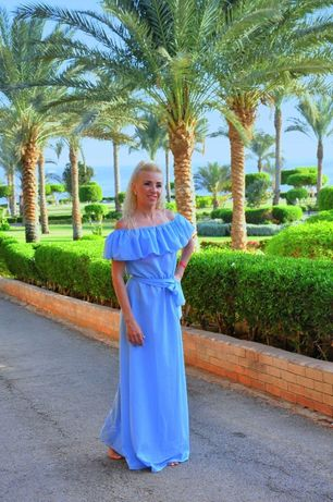 Платье в пол шифоновое летнее пляжное для фотосессии р. S-M