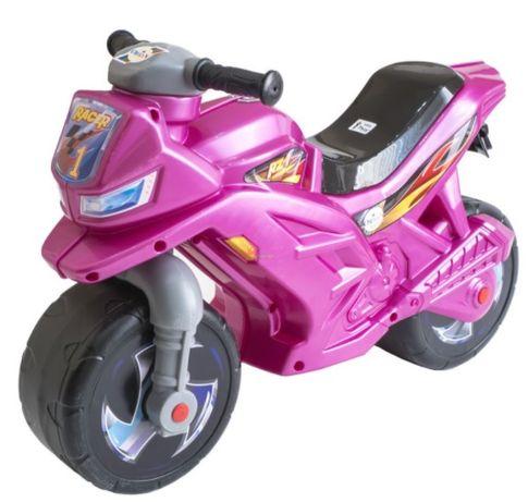 Сиреневый мотобайк мотоцикл для девочки толокар велобег Орион 501