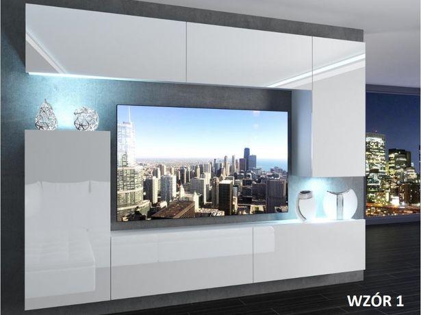 Meblościanka Premium 8 salon biała połysk różne wzory meble do salonnu