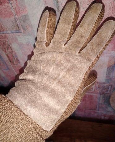 Мужские, кожаные, замшевые перчатки с манжетом