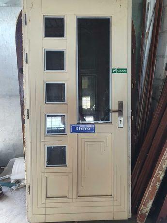 DRZWI Zewnętrzne Drewniane Wejściowe Sosnowe Białe 100x209cm