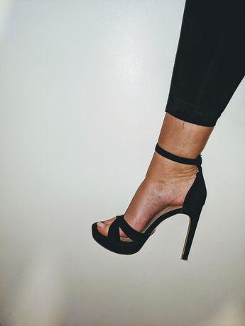 Szpilki czarne sandałki platforma Zara 39