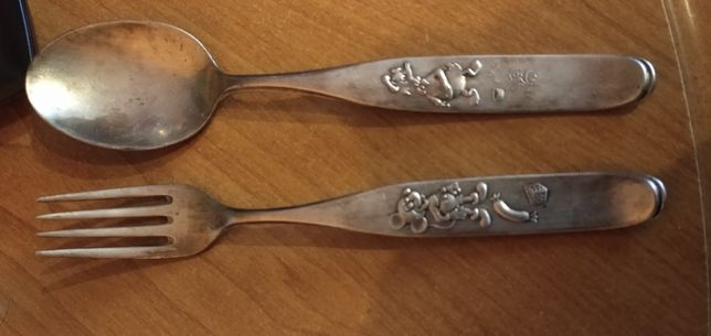 widelec i łyżka srebrna próba 90 myszka miki i kaczor donald.
