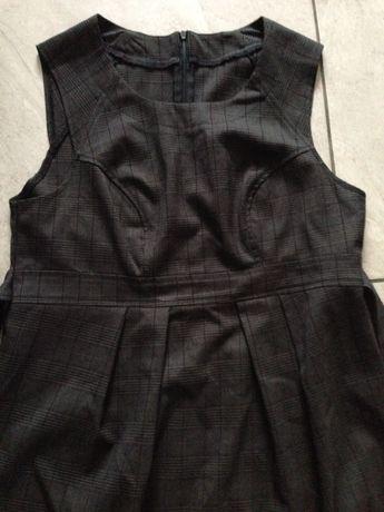 Sukienka szary brąz czarna krata Zara L-XL