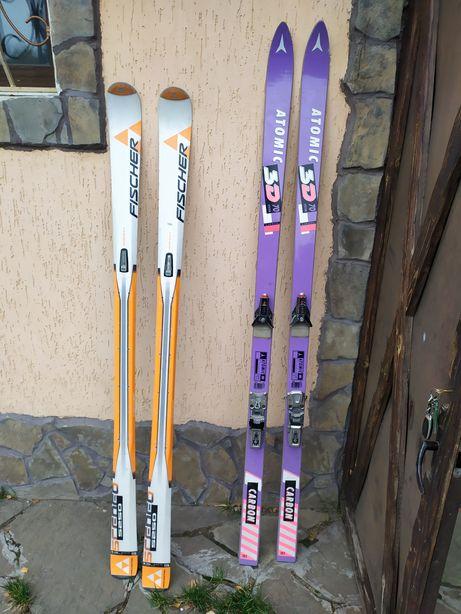 Горные лыжи Atomic 3D Carbon 70 185см, Fisher 170см ( оригинал )