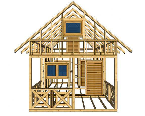 Szkielet domku kanadyjskiego altana z poddaszem do 35m2 altanka drewno