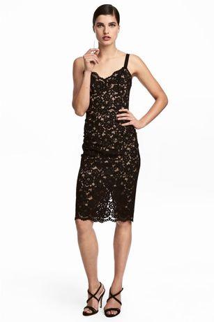 Красивое кружевное Черное платье H&M. Платье в бельевом стиле