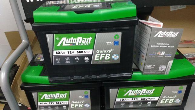 Akumulator AutoPart Galaxy Start Stop EFB 62Ah 580A VW Fiat Taxi Krak