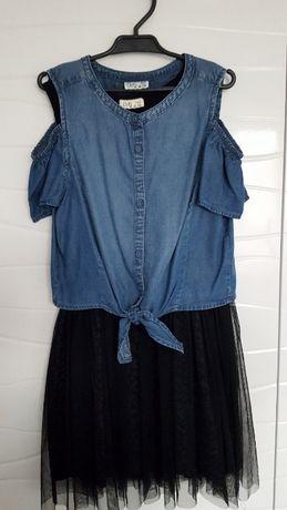 Sukienka czarna OVS dwie części tiul jeans dżins 140 idealna