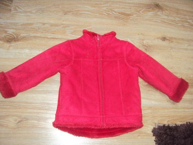 Kurtka czerwona futerko płaszczyk 104/110 kożuszek
