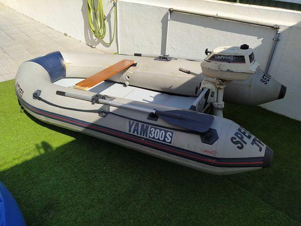 Barco Insuflável Semi-Rigido Yam300s + motor Johnson 4cv