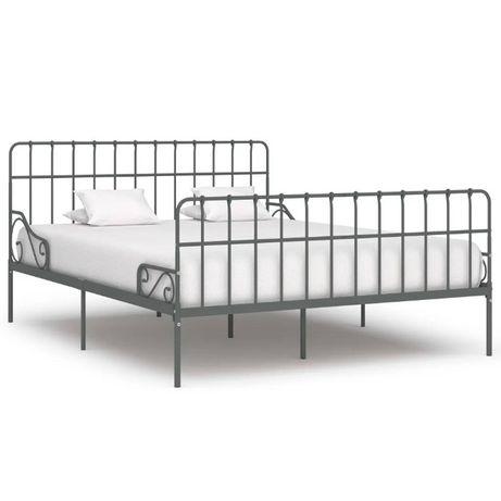 NOWA Rama łóżka ze stelażem, szara, metalowa, 180 x 200 cm