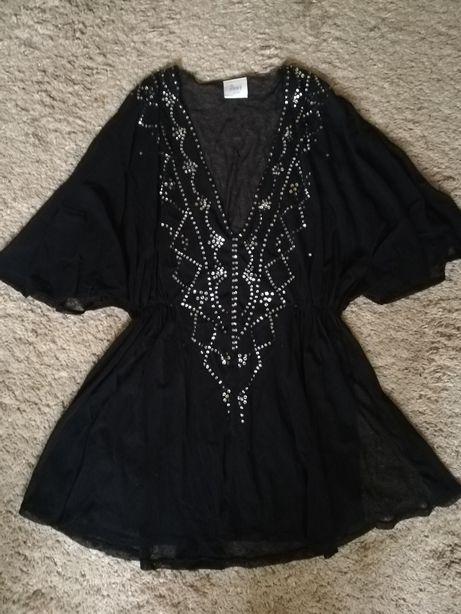 Tunika bluzka mgiełka czarna sylwester sylwestrowa cekiny narzutka