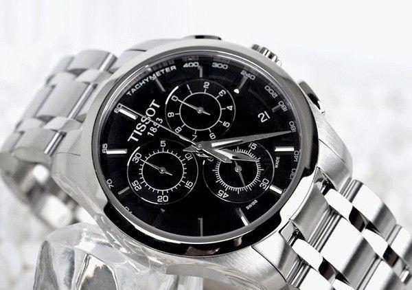 Мужские наручные часы хронограф Tissot Couturier на стальном браслете