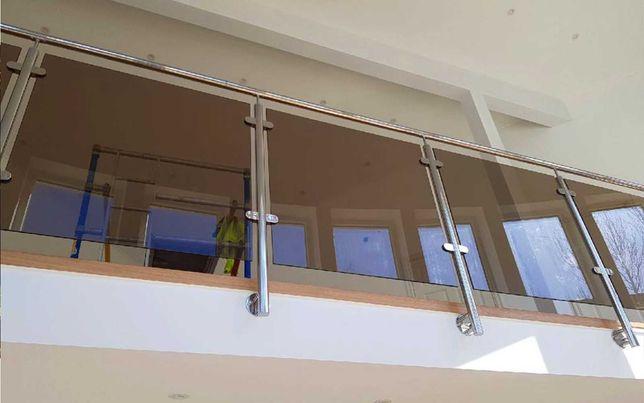 Balustrada stal nierdzewna, szklana, schodowa / balkonowa / tarasowa