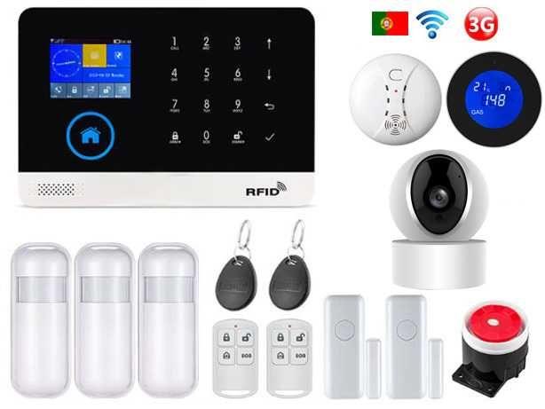 Alarme Casa sem fios Câmara/GSM/3G/WiFi Android/iOS Português (NOVO)
