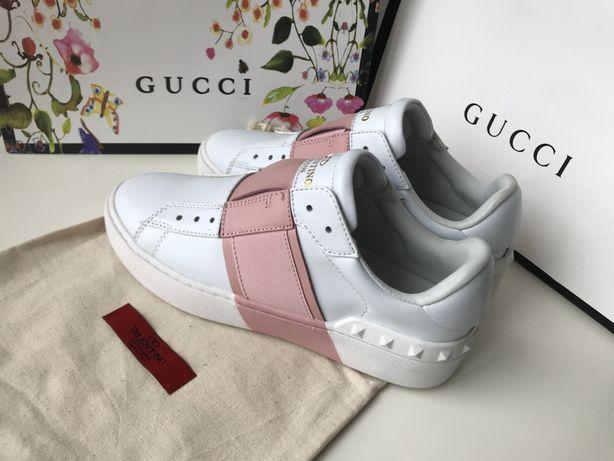Valentino białe różowe sneakersy miekkie super wygodne od ręki 39
