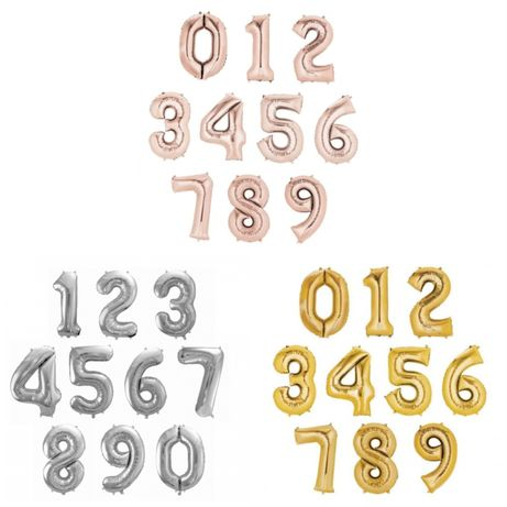 Balony cyfry 80 cm napełnione helem, 3 kolory