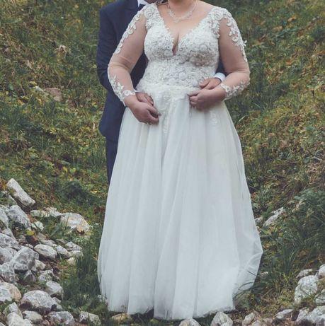 suknia ślubna plus size, rozm. 50