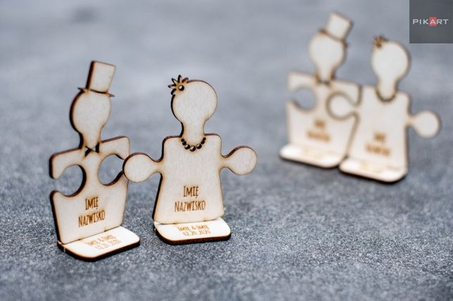 Winietki winietka puzzle 10cm na stół z datą !!! ślub wesele