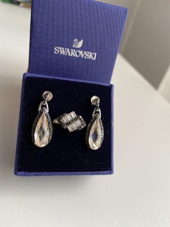 Srebrna biżuteria Swarovski kolczyki łezki + pierścionek Apart Yes