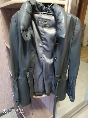 Кожаная куртка стального цвета