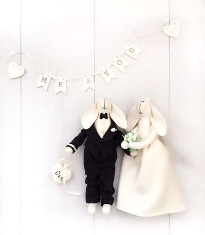 Свадебные зайки тильда молодожёны подарок весілля подарунок молодята