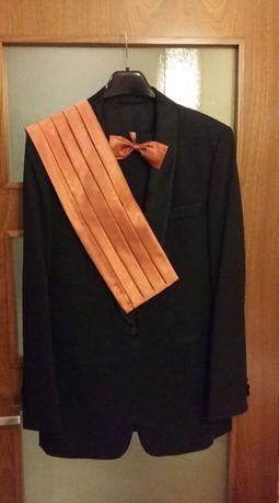 Smoking ślubny garnitur czarny 100% wełniany 185 cm z pasem i muszką