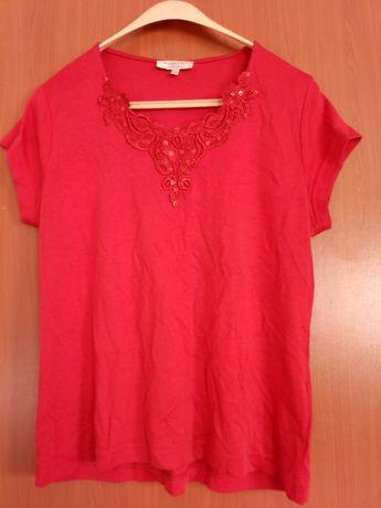 Bluzka czerwona z koronką i cekinami L