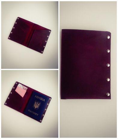 Шкіряна обкладинка для паспорта ручної роботи