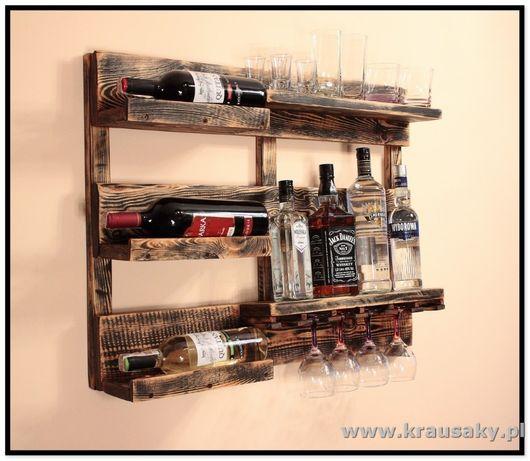 Półka dekoracyjna z drewna - rustykalna vintage loft na wino alkohole