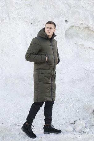 Мужская удлиненная куртка пальто цвет Хаки