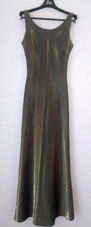 Wieczorowa klasyczna suknia oliwkowo-złota