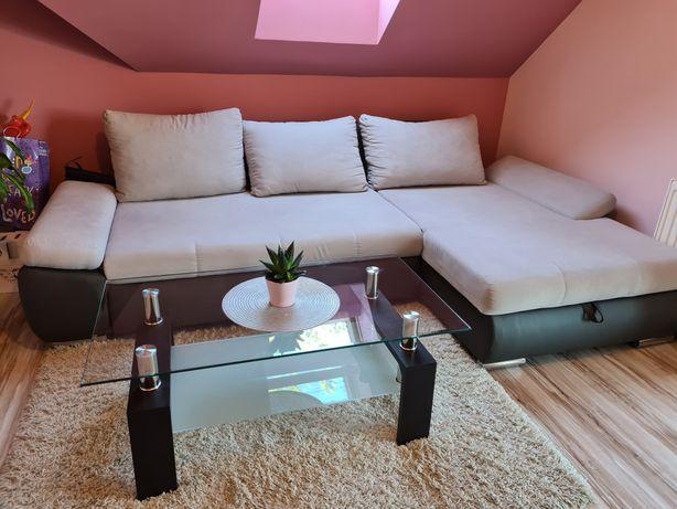 Kanapa narożnik łóżko sofa beżowa brązowa jasna szara duża rozkładana