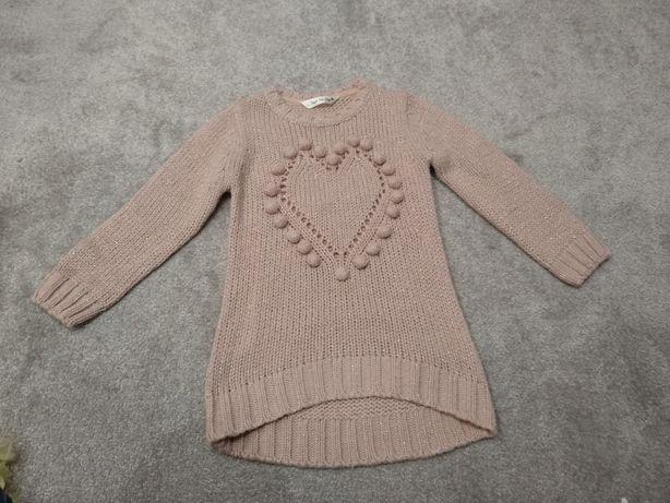 Różowa tunika sweter sweterek sukienka 98 zimowa