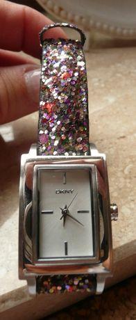 zegarek DKNY brokatowy skórzany pasek CUDO