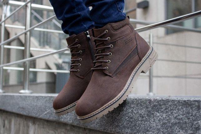 Распродажа! Мужские коричневые/бурые стильные зимние ботинки с мехом.