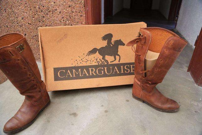 botas em couro verdadeiro para equitação