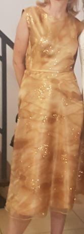 Sukienka złoty beż