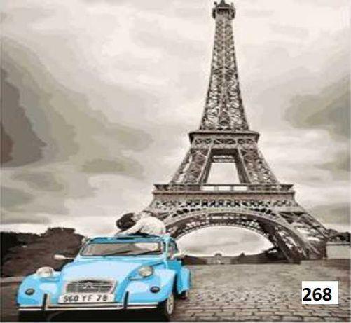 Quadro tela numerada para pintar com material e moldura incluído Paris