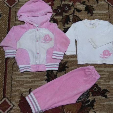 Велюровый костюмчик тройка для девочки 9-12 месяцев