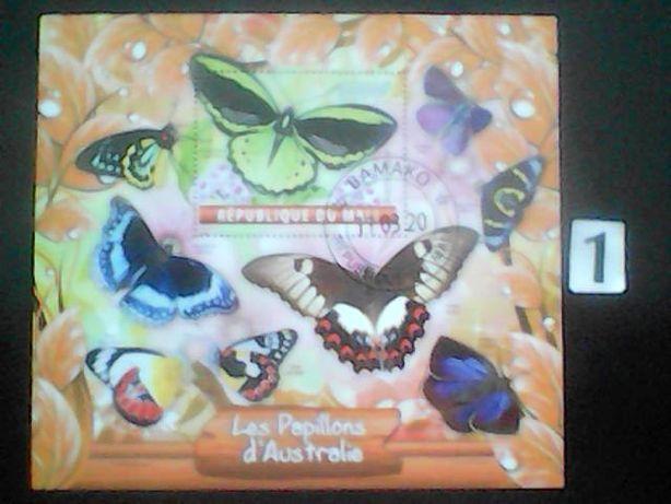 Znaczki , motyle, bloczki A [ 8 pozycji ]
