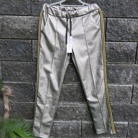 Złote spodnie ze skóry_legginsy_lampasy_M/38