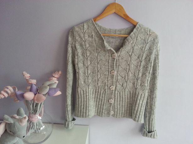 Sweterek ażurowy krótki szary firmy FOBIA, r. S/M