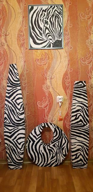 Напольные вазы, картина Зебра Африка высокие комплект или поштучно