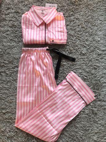 Satynowa piżama pidżama koszula w paski różowa jak Victoria's Secret