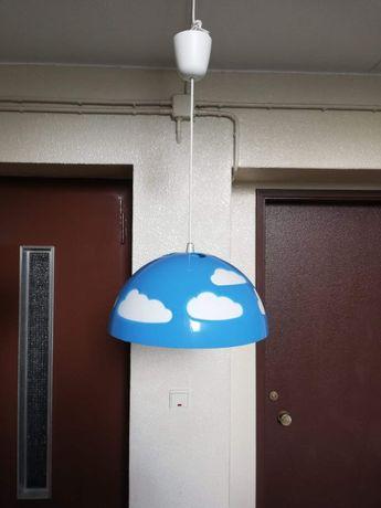 Candeeiro de tecto para quarto de Bebe, cor azul e Branco